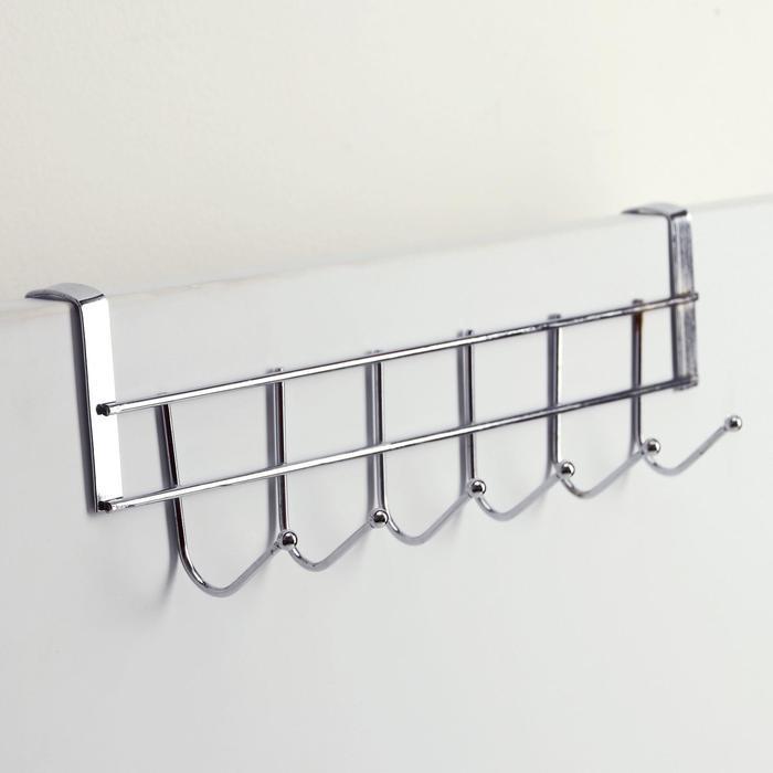 Вешалка на дверцу шкафа на 6 крючков 28×3,5×6 см, цвет серебро