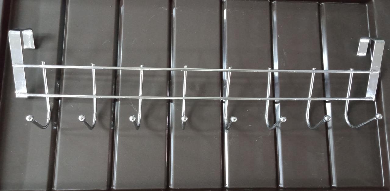 Вешалка на дверцу шкафа на 8 крючков 36×3,5×6 см, цвет серебро