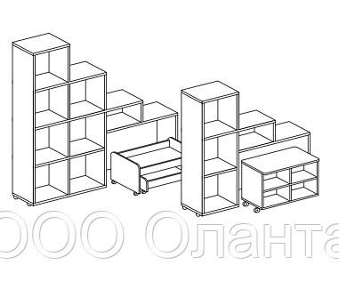 Стеллаж для игрушек и пособий на 4 ячейки ЛЕСЕНКА двухсторонний (1054х400х1100 мм) арт. СТЛ3