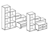 Стеллаж для игрушек и пособий на 4 ячейки ЛЕСЕНКА двухсторонний (1054х400х1100 мм) арт. СТЛ3, фото 1