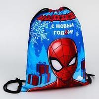 Мешок для подарков новогодний 'Человек-паук', MARVEL, 21 x 0,5 x 29 см, отдел на шнурке