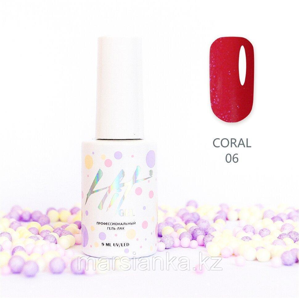Гель-лак HIT gel Coral №06, 9мл