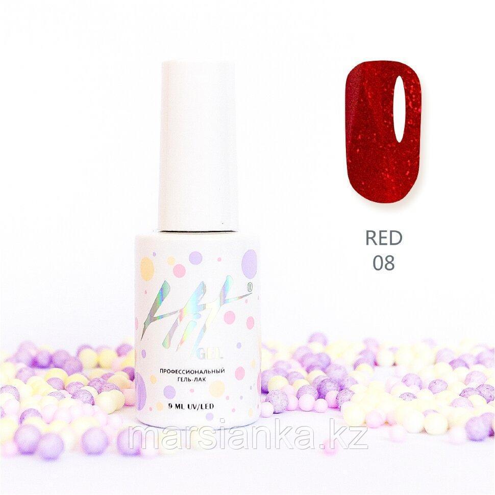 Гель-лак HIT gel Red №08, 9мл