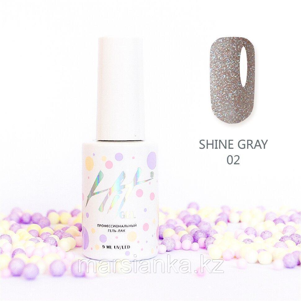 Гель-лак HIT gel Shine Gray №02, 9мл
