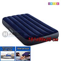 Односпальный надувной матрас Intex 64757, Fiber-Tech, размер 191х99х25 см