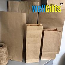 Бурые крафт пакеты 20х7х4 см (лам-ный слой) 78 гр/м2