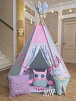 Детская палатка вигвам с ковриком и подушками розовый/голубой