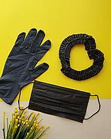 Перчатки черные одноразовые нитриловые