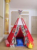 Детская палатка вигвам с ковриком и подушками красный 6-ти гранный