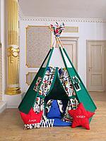 Детская палатка вигвам с ковриком и подушками зеленый 6-ти гранный