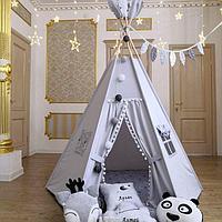 Детская палатка вигвам с ковриком и подушками серый