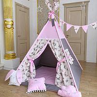 Детская палатка вигвам с ковриком и подушками розовый/бабочки 4-ти гранный