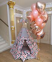 Детская палатка вигвам с ковриком и подушками яркий треугольник