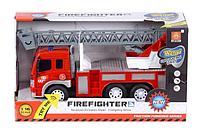 Машина инерционная Пожарная автолестница 1:16 ( свет, звук)