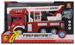 Машина инерционная Пожарный подъемник 1:16 ( свет, звук)
