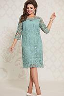 Женское осеннее кружевное зеленое нарядное большого размера платье Vittoria Queen 10773/1 50р.