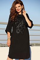 Женское осеннее трикотажное черное нарядное большого размера платье Vittoria Queen 11593 черный 50р.