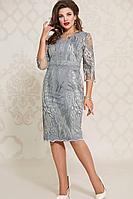 Женское осеннее кружевное серое нарядное большого размера платье Vittoria Queen 12543 50р.