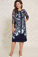 Женское осеннее кружевное синее нарядное большого размера платье Vittoria Queen 12583 50р.
