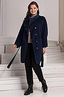 Женское осеннее трикотажное синее пальто Amelia Lux 35-25 т.синий 46р.