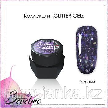 Гель лак Serebro Glitter gel черный, 5мл