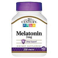Мелатонин 3 мг, 21st century, 200 таблеток