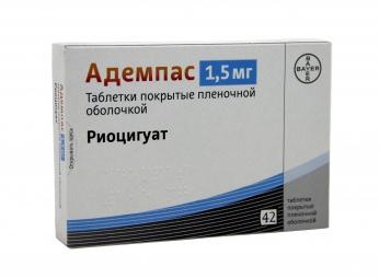 Адемпас (Adempas)  риоцигуат (riociguat) 0.5 мг, 1 мг, 1.5 мг, 2 мг, 2.5 мг таб. (Европа)