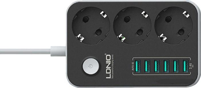 Сетевой удлинитель на 3 сетевые розетки 220V c 6-ю USB портами и функцией умной USB зарядки, UNION SE3631 - фото 3