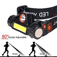 Налобный фонарь с 2 светодиодами и магнитом