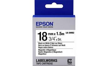 Лента Epson C53S655001 LK-5WB2 Магнитная лента 18мм, Бел./Черн., 2м