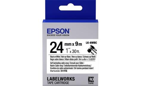 Лента Epson C53S656901 LK-6WBC для кабеля, 24мм,Бел./Черн., 9м