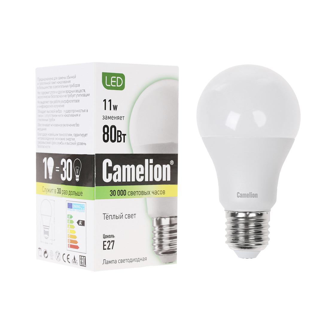Эл. лампа светодиодная Camelion LED11-A60/830/E27, Тёплый