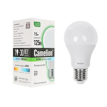 Эл. лампа светодиодная Camelion LED15-A60/845/E27, Холодный