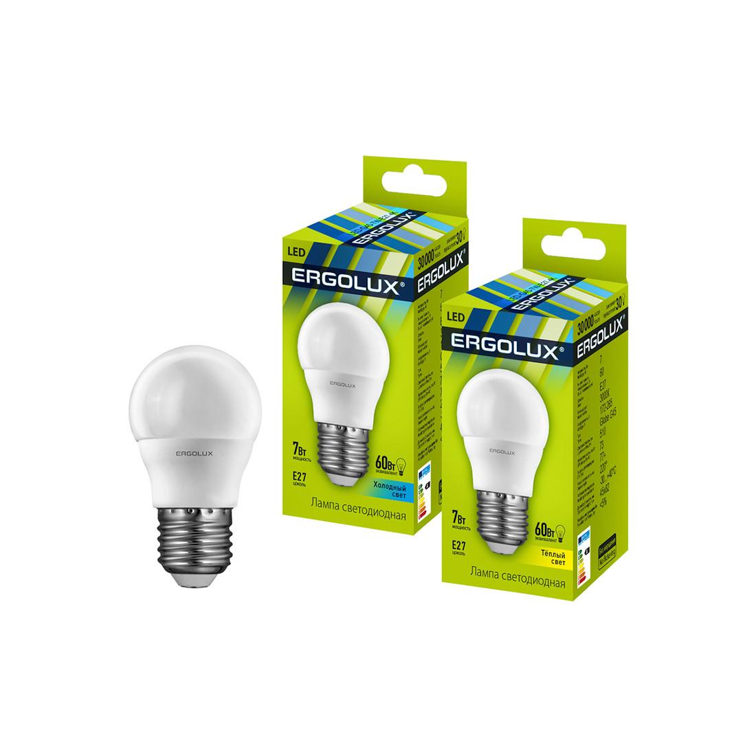 Эл. лампа светодиодная Ergolux G45/3000K/E27/7Вт, Тёплый