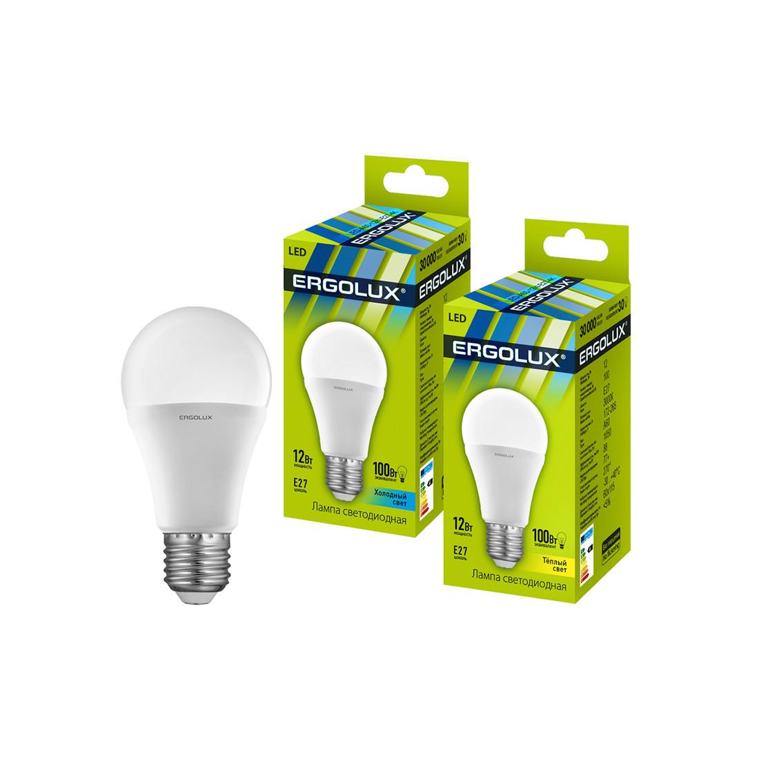 Эл. лампа светодиодная Ergolux LED-A60-12W-E27-3K, Тёплый