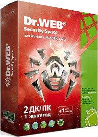 Программное обеспечение Dr.Web Security Space Лицензионный сертификат для 2 ПК на 1 год + 1 месяц в подарок