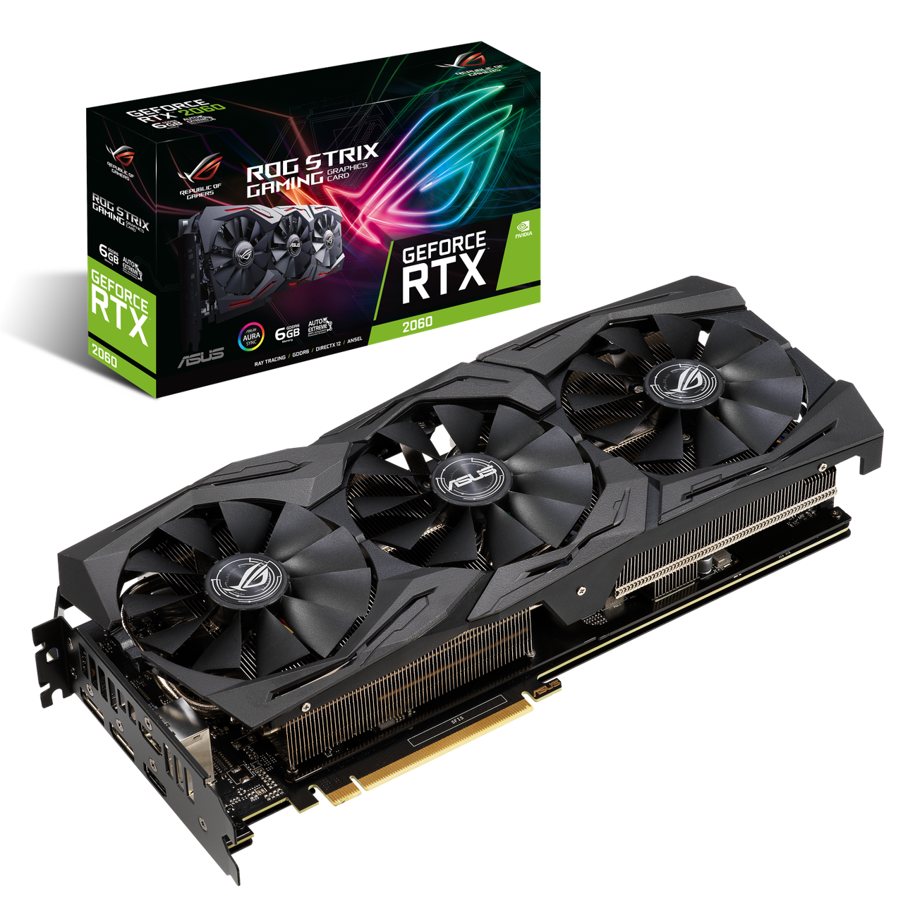 Видеокарта Asus ROG-STRIX-RTX2060-6G-GAMING, GDDR6 6GB,192-bit, HDMI2,Display2