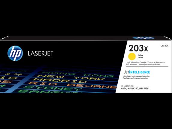 HP CF542X 203X Yellow LaserJet Toner Cartridge for M254/M280/M281, 2500 pages