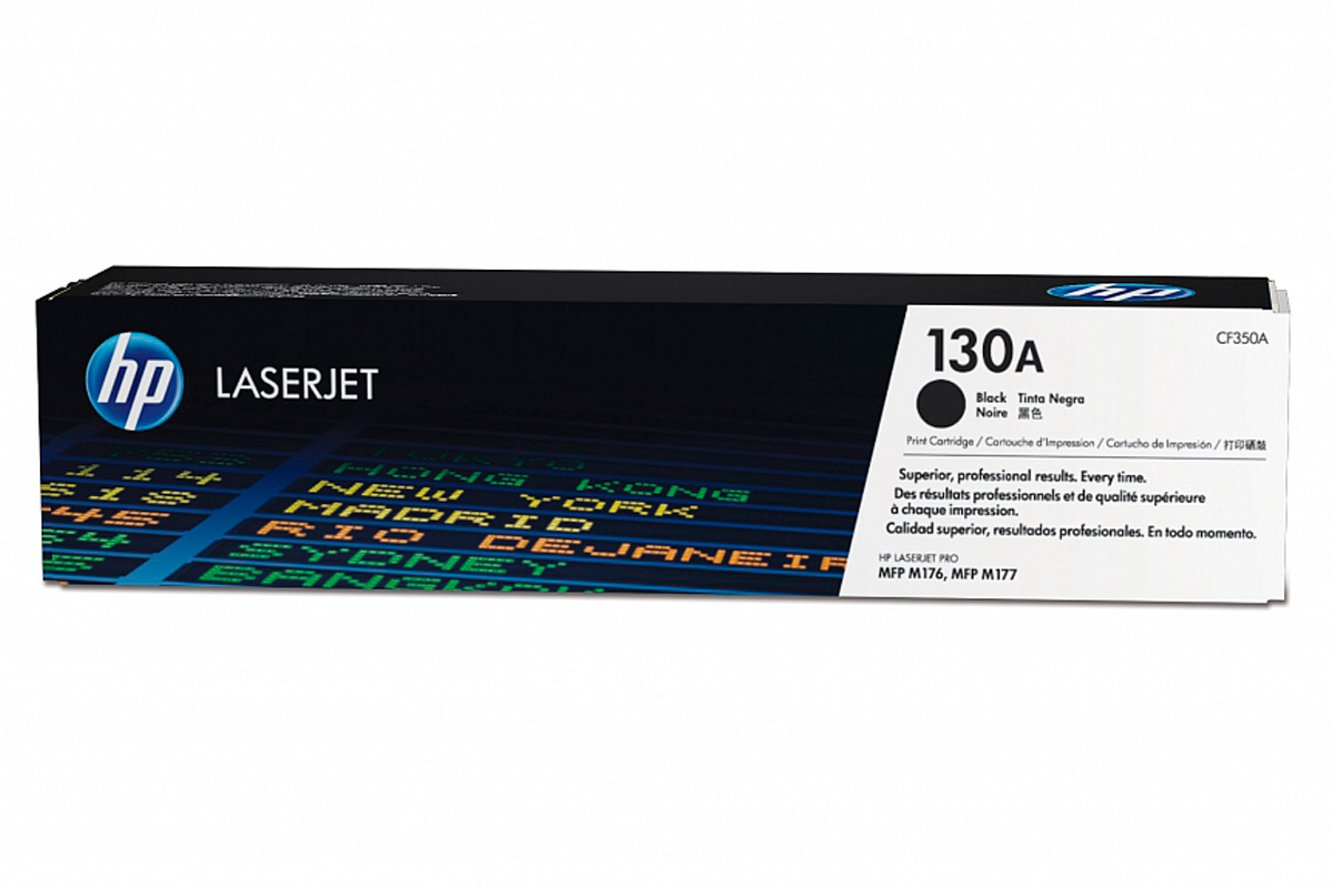 HP CF350A 130A Black Toner Cartridge for Color LaserJet Pro M176n/M177fw, up to 1300 pages.