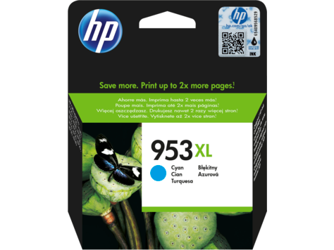 HP F6U16AE 953XL Cyan Original Ink Cartridge for OfficeJet  Pro 8710/8720/8730, up to 1600 pages