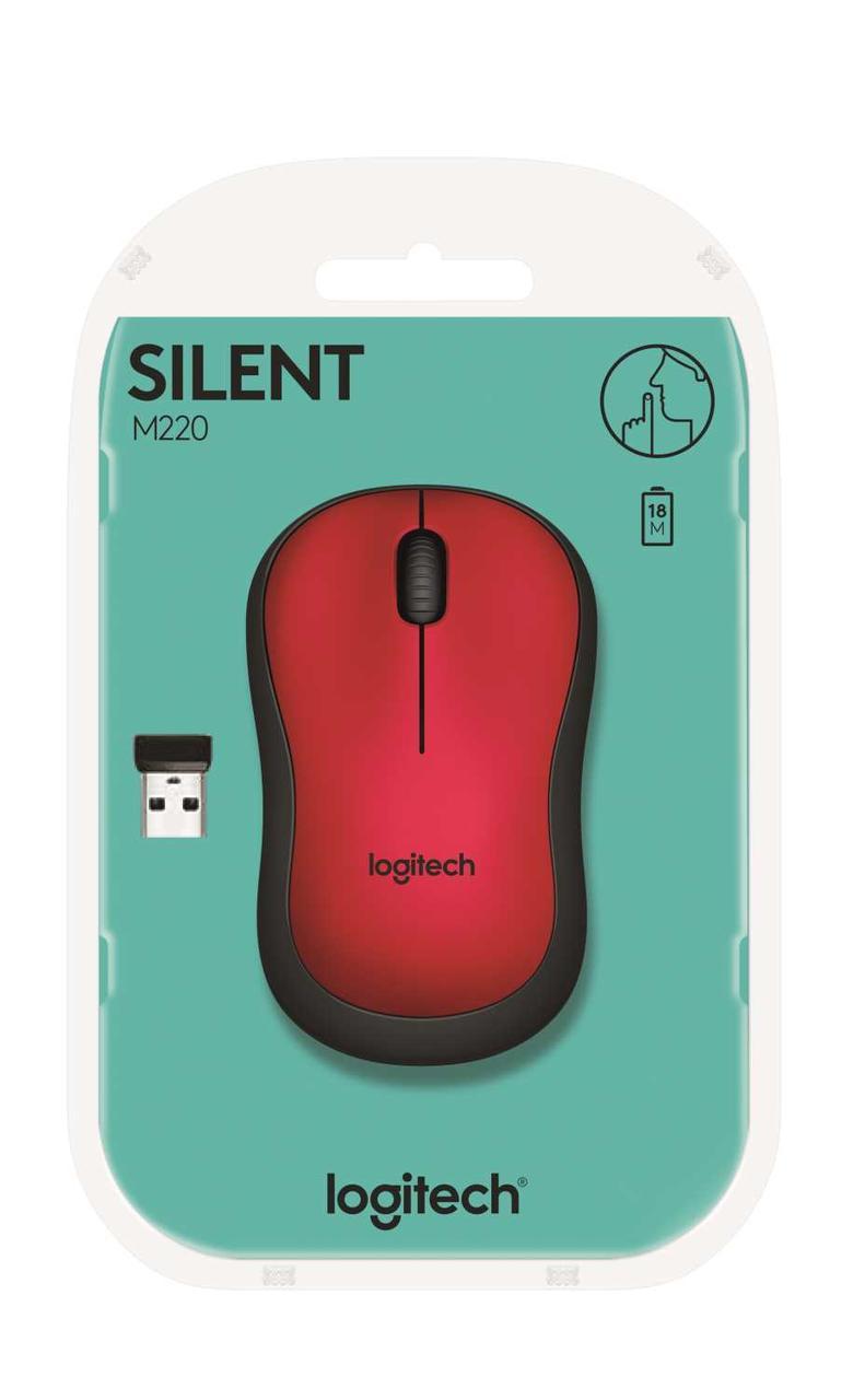 Мышь Logitech® M220 SILENT - RED - 2.4GHZ - EMEA
