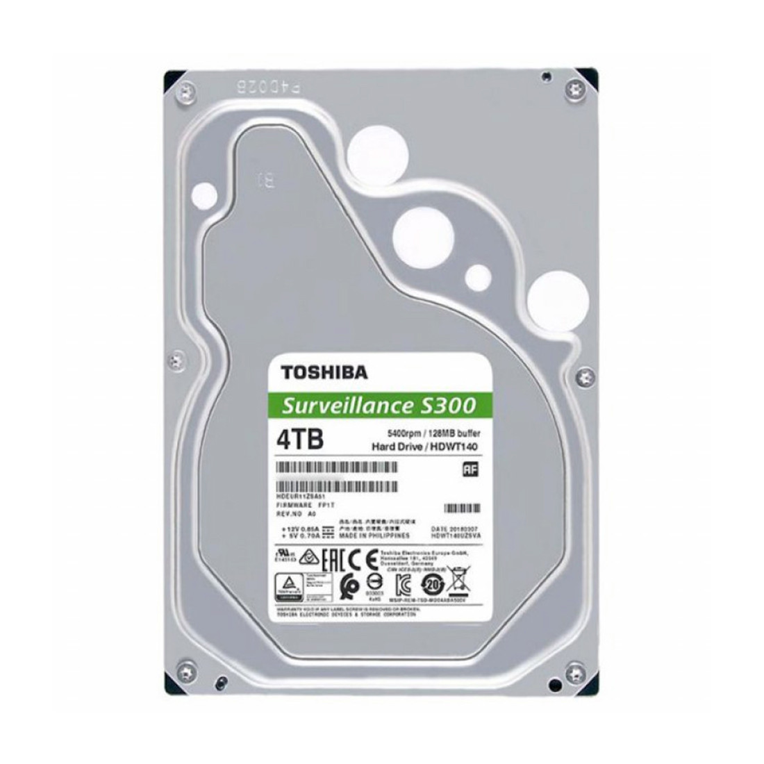 Жесткий диск HDD 4Tb TOSHIBA Surveillance S300 5400rpm 128Mb SATA3 3,5 HDWT140UZSVA MTBF