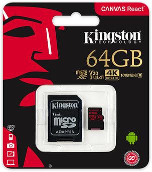 Карта памяти Kingston 64GB microSDXC Canvas React 100R/80W U3 UHS-I V30 A1 Card + SD Adapter