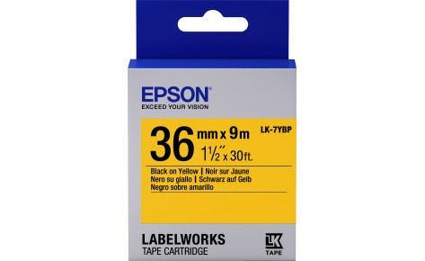 Лента пастельная Epson C53S657005, LK-7YBP, 36 мм, желтая/черная, 9м