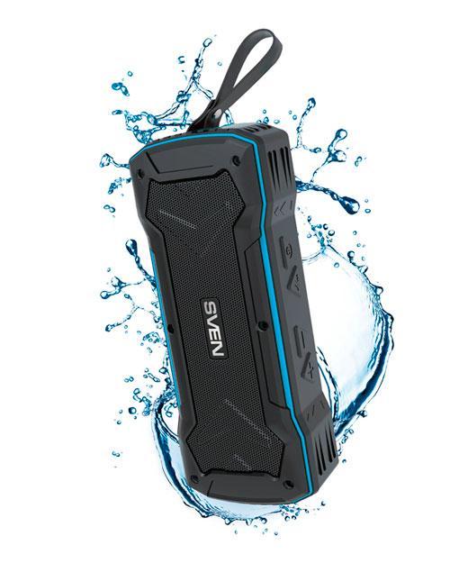 SVEN PS-220, черный-синий, мощность 2x5 Вт (RMS), Wateproof (IPx5), Bluetooth