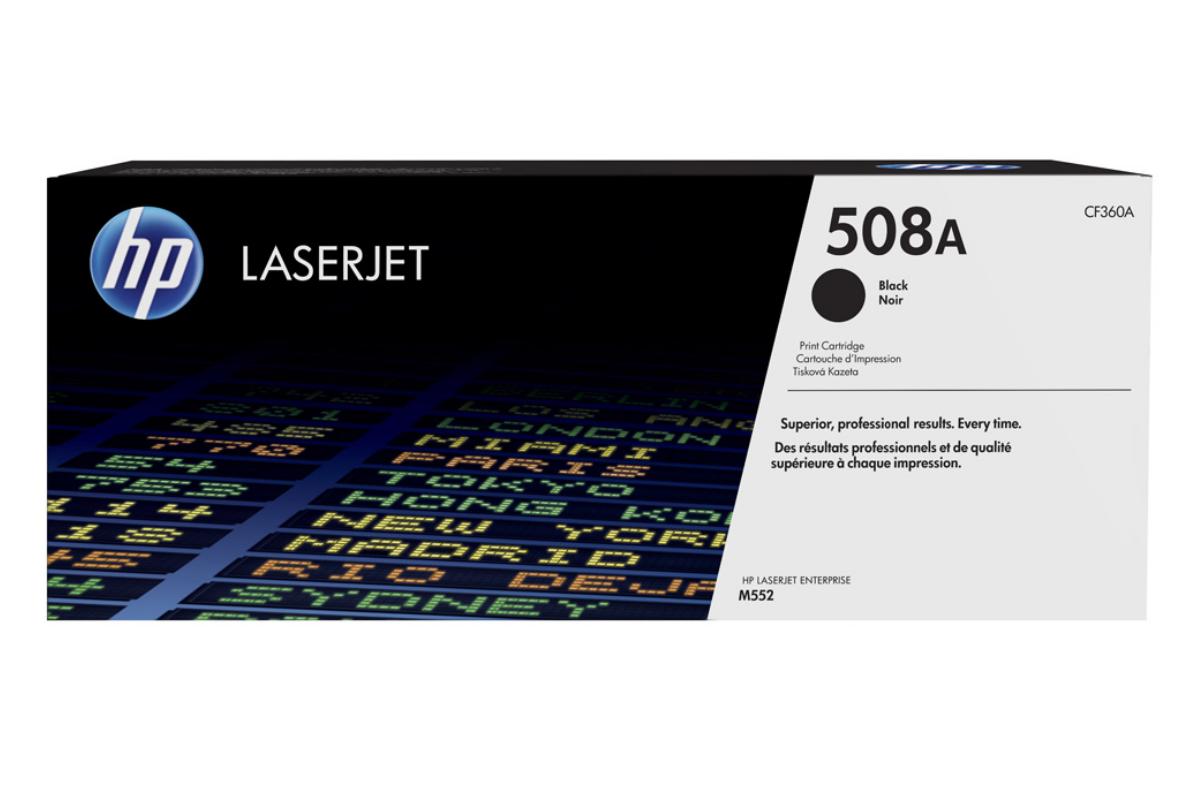 HP CF360A 508A Black LaserJet Toner Cartridge for Color LaserJet Enterprise M552/M553/M577, up to 6000 pages