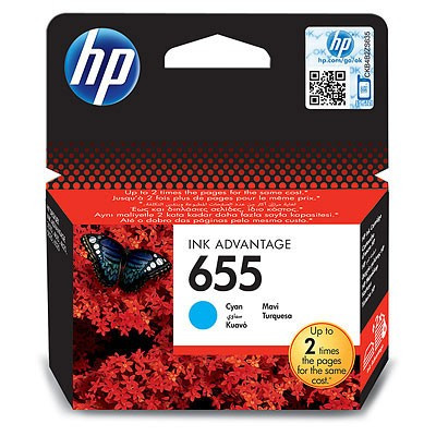 HP CZ110AE Cyan Ink Cartridge №655 for Deskjet Ink Advantage 3525/4615/4625/5525/6525, up to 600 pages.