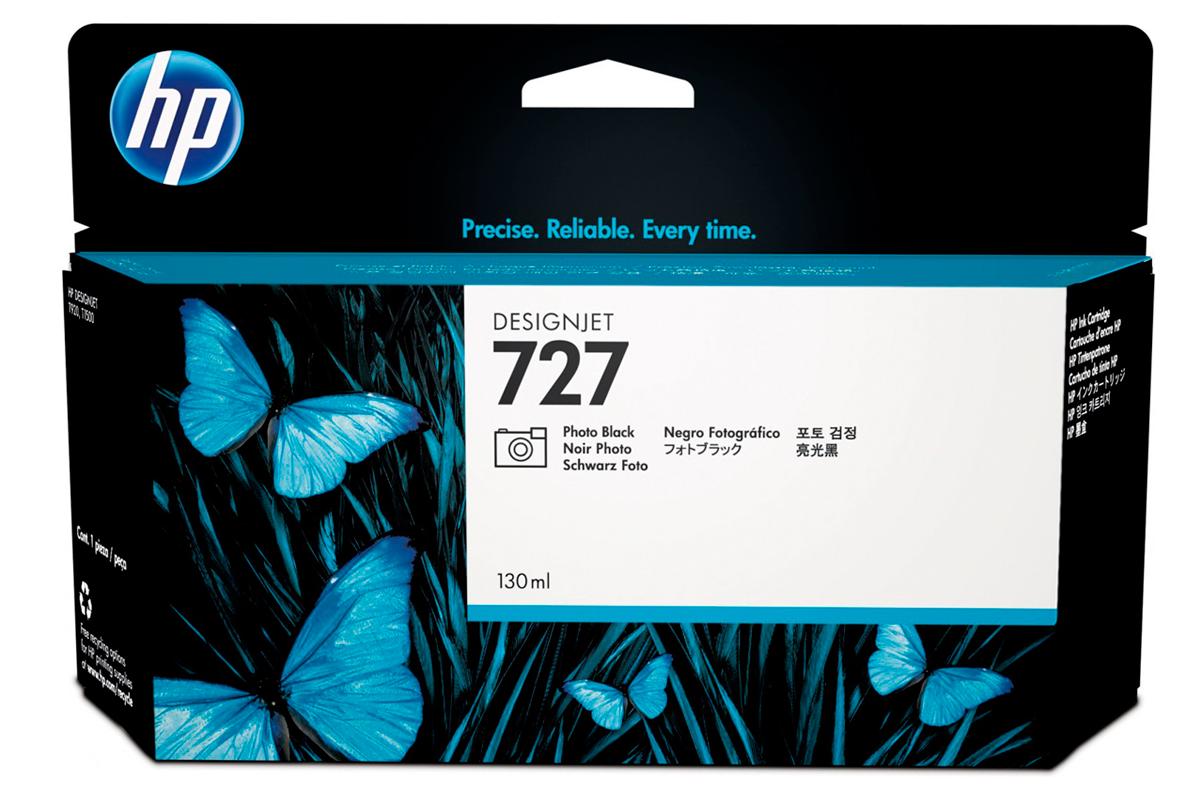 HP B3P23A Photo Black Ink Cartridge №727 for DesignJet T1500/T2500/T920, 130 ml.