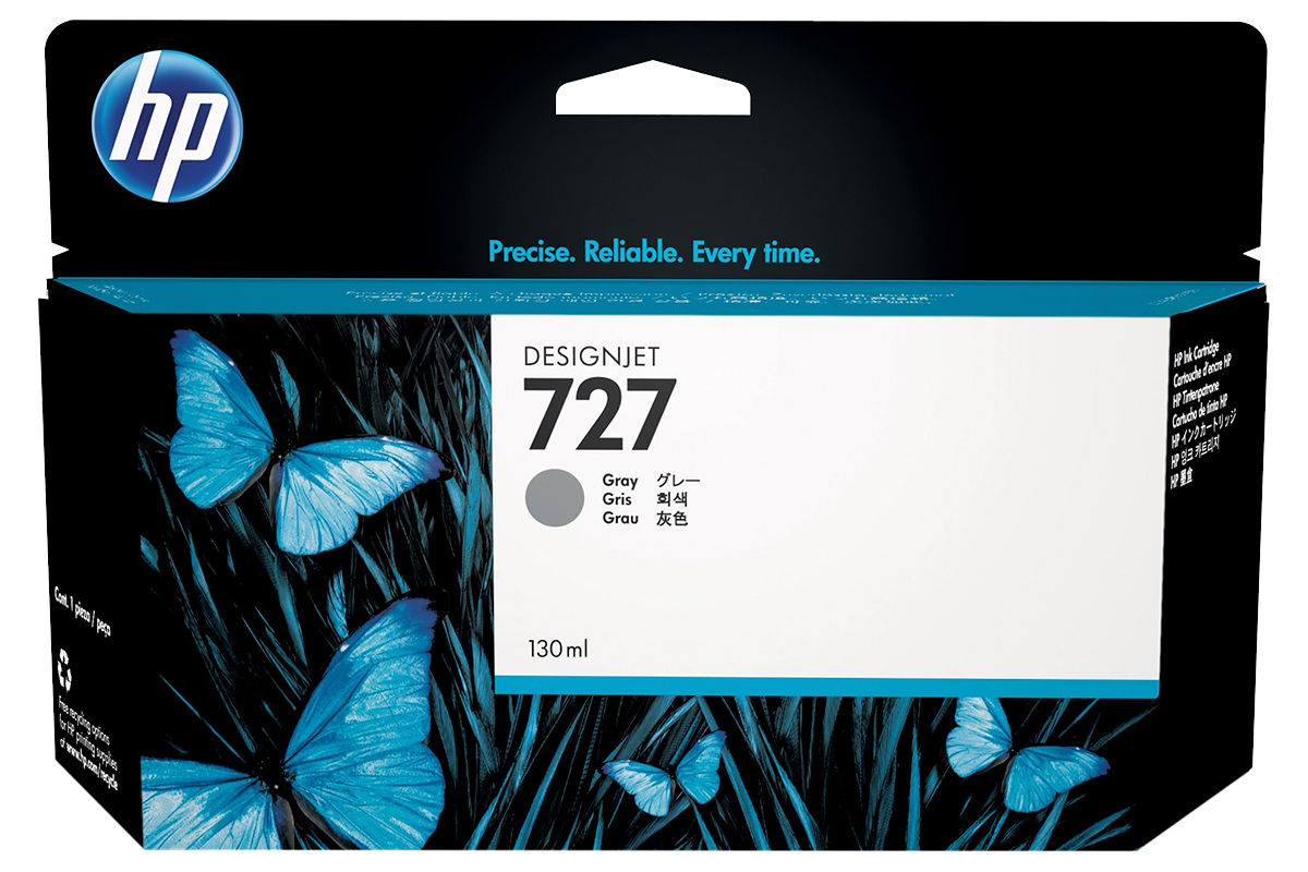HP B3P24A Gray Ink Cartridge №727 for DesignJet T1500/T2500/T920, 130 ml.