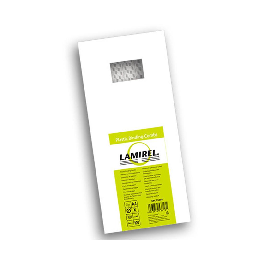 Пружина пластиковая Lamirel LA-78668, 8 мм. Цвет: белый, 100 шт